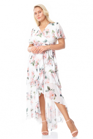 Print c07 plus size chiffon short sleeve maxi dress
