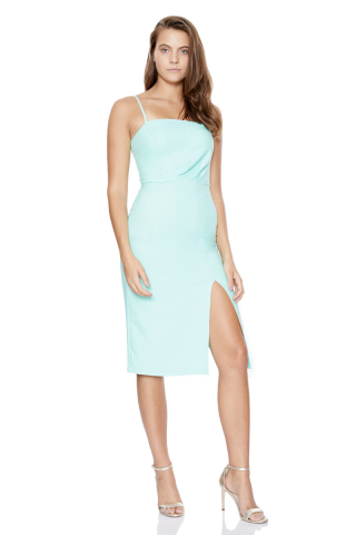 Water green crepe sleeveless midi dress