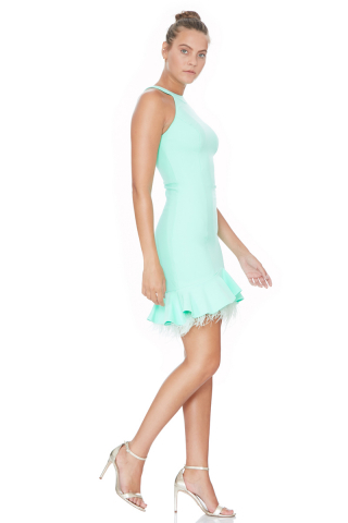 Water green crepe sleeveless mini dress