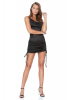 Black satin sleeveless mini dress