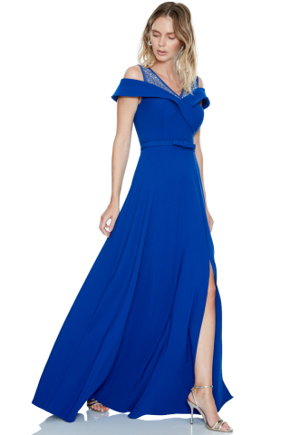 Sax crepe sleeveless maxi dress