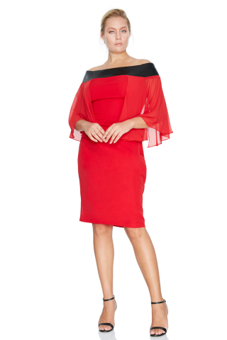 Red plus size crepe short sleeve mini dress