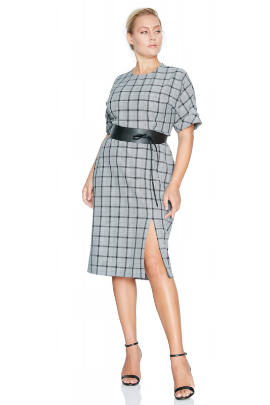 Mixed plus size knitted short sleeve midi dress