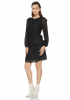 Black chiffon long sleeve mini dress