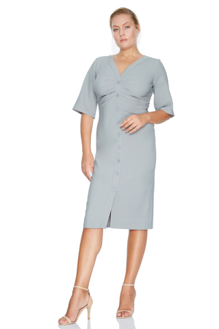 Grey plus size crepe 3/4 sleeve midi dress