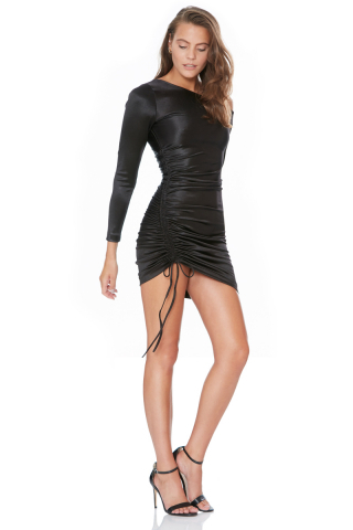 Black satin long sleeve mini dress