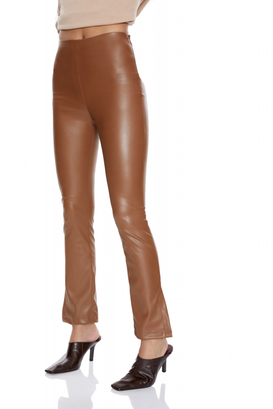 Brown leather maxi trousers