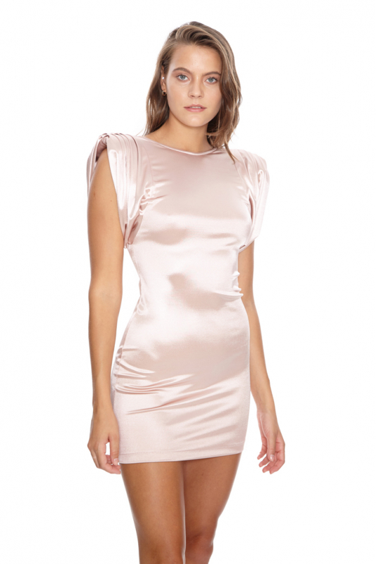 Powder satin sleeveless mini dress