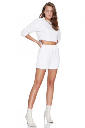 White woven long sleeve