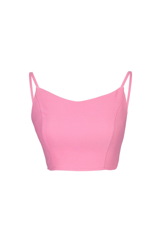 Pembe krep kolsuz crop top