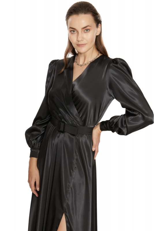 Black satin long sleeve midi dress