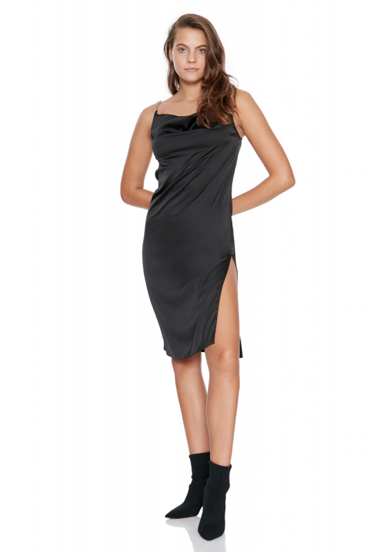Black satin sleeveless midi dress