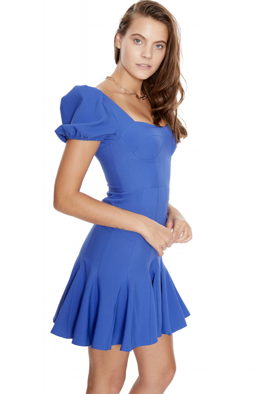 crepe short sleeve midi dress