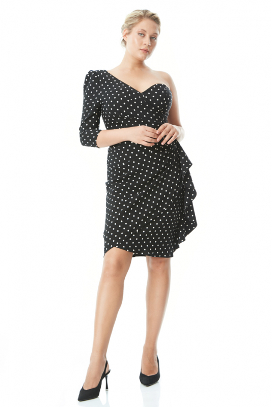 Print y76 plus size crepe single sleeve mini dress