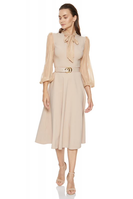 Beige crepe long sleeve midi dress
