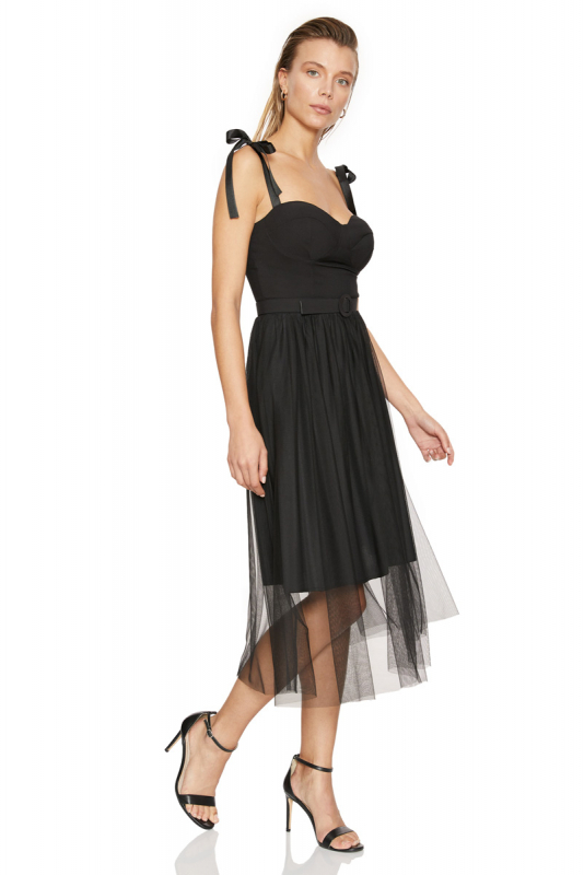 Black crepe strapless midi dress
