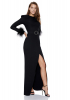 Black crepe long sleeve long dress