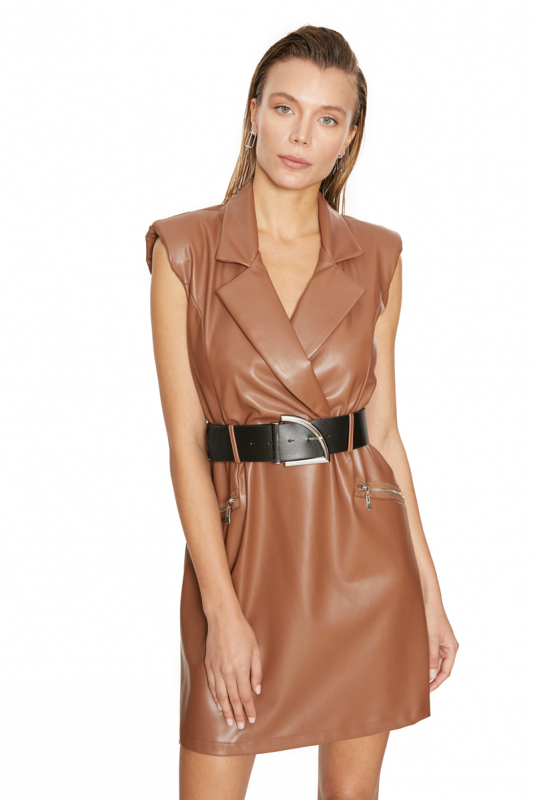 Brown leather sleeveless mini dress
