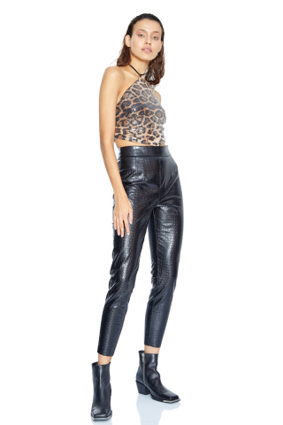 Leopar krep kolsuz crop top