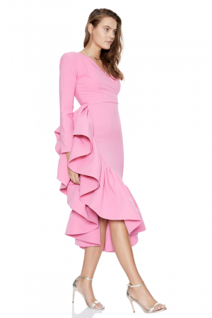 Pink crepe long sleeve midi dress