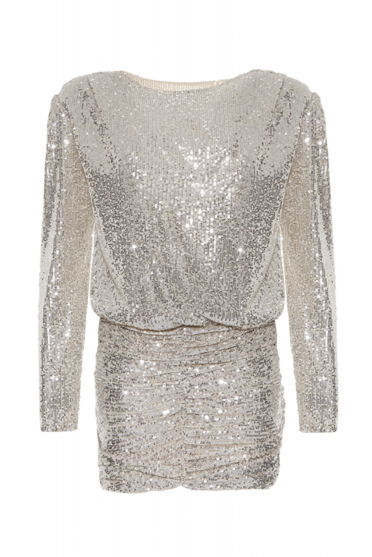 Beige sequined long sleeve mini dress