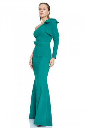 Green crepe sleeveless maxi dress