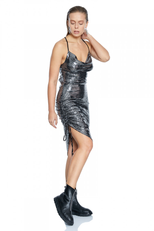 Silver sequined strapless mini dress