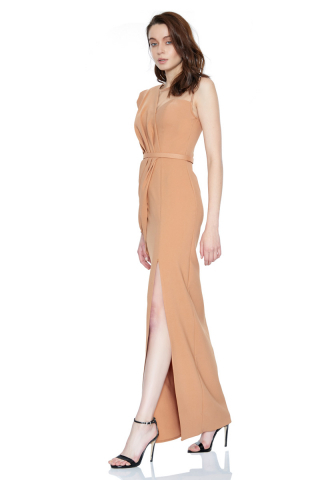 Camel crepe single sleeve maxi dress