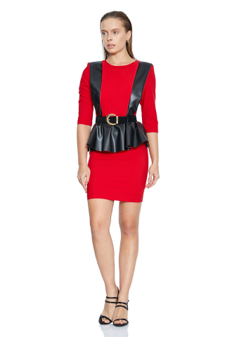 Red crepe 3/4 sleeve mini dress