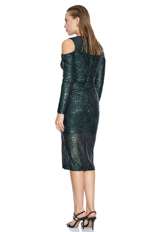 Green sequined long sleeve midi dress