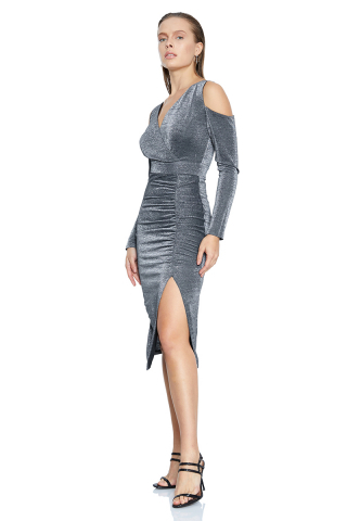 Silver velvet 13 long sleeve midi dress