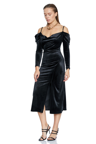 Black velvet long sleeve midi dress