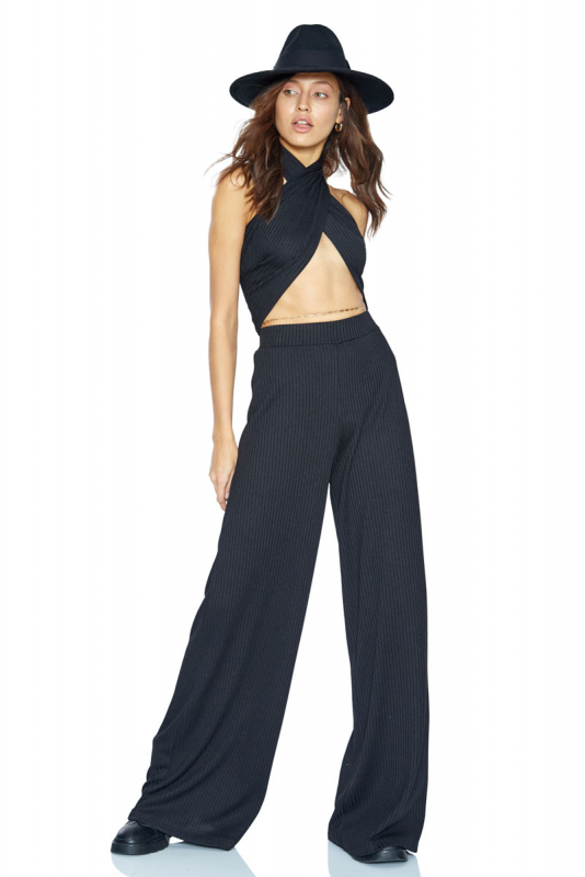 Black knitted maxi trousers