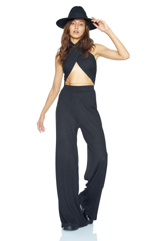 Black knitted long trousers