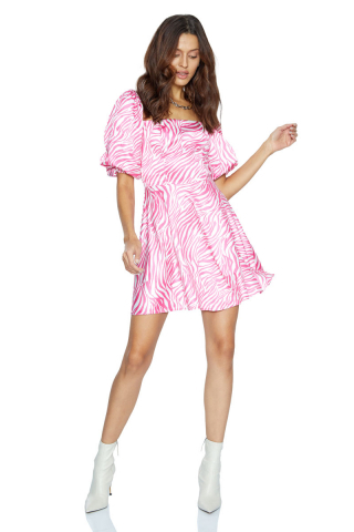 satin short sleeve mini dress