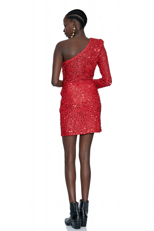 Red sequined single sleeve mini dress