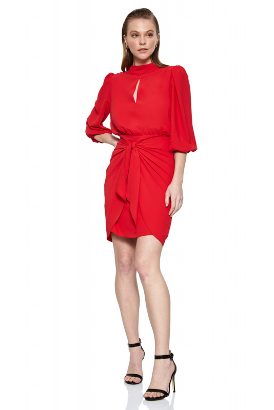 Red crepe long sleeve midi dress