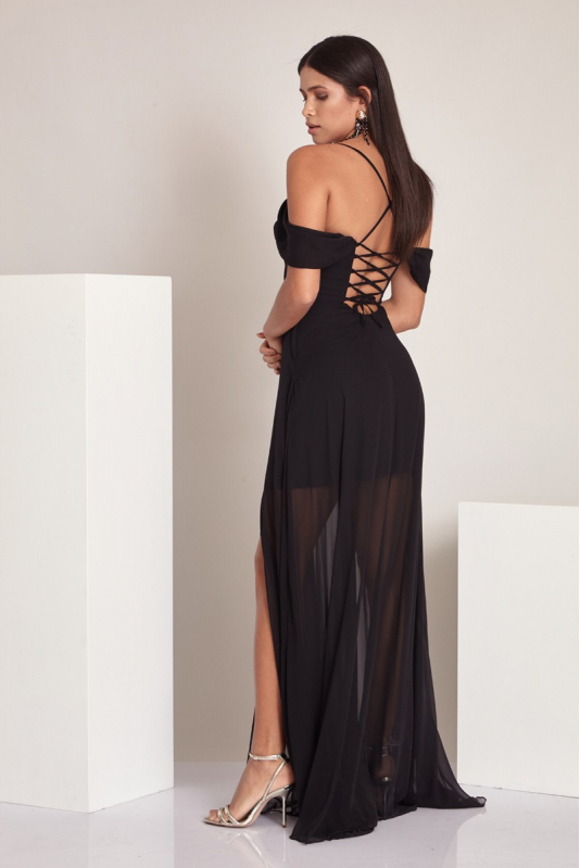 Black chiffon 3/4 sleeve maxi dress