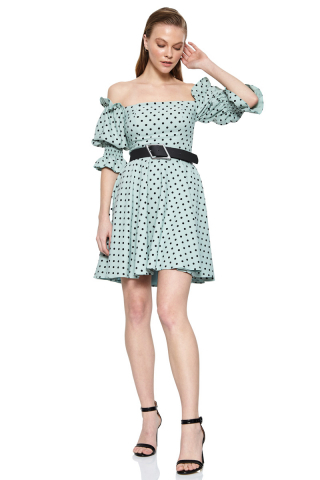 Print f79 crepe 3/4 sleeve mini dress