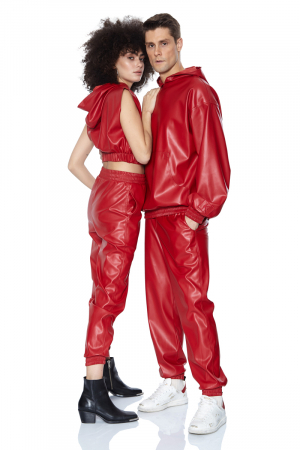 Red leather long trousers