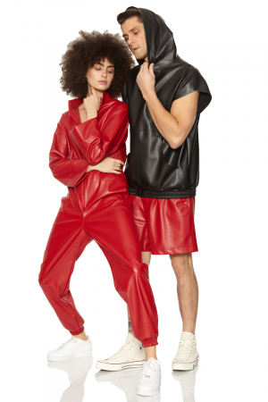 Red leather long sleeve long overall