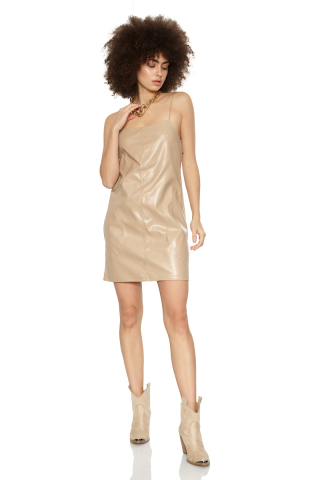 Beige leather sleeveless mini dress