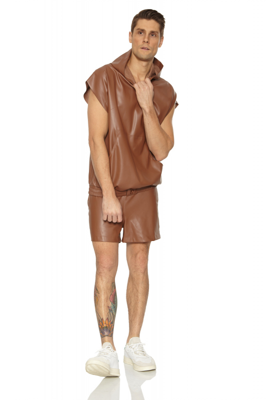Brown leather sleeveless