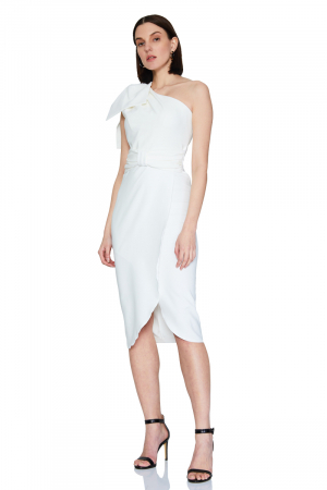 White crepe sleeveless midi dress