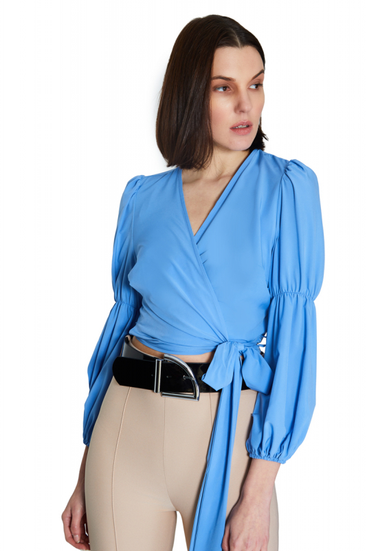 Blue chiffon long sleeve mini blouse