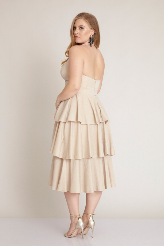 Beige plus size knitted sleeveless midi dress