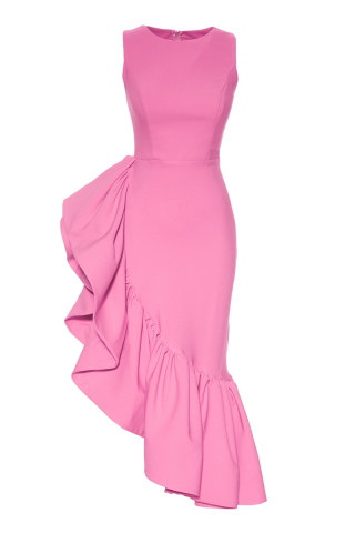Pink crepe sleeveless maxi dress