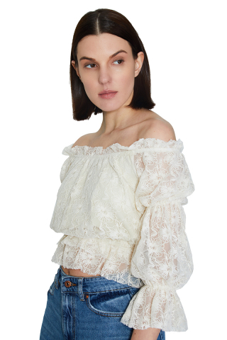 White lace long sleeve mini blouse
