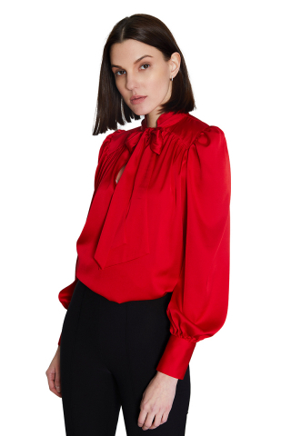 Red satin long sleeve midi blouse