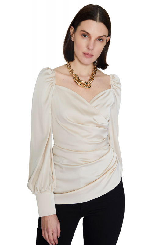 Beige satin long sleeve mini blouse